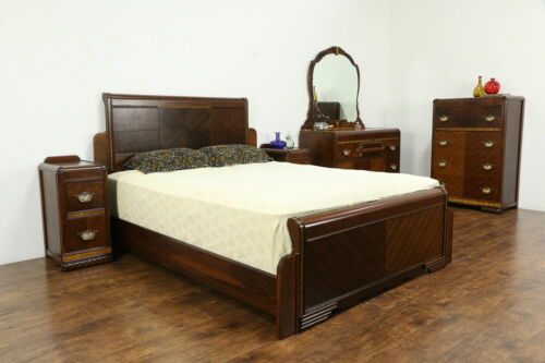 Art Deco Vintage 5 Pc Bedroom Set, Queen Size Bed #34546
