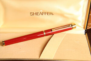 Sheaffer Targa Imperial Red Laque Classic Fountain Pen gold nib - New Old stock