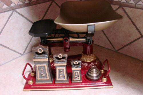 Superb Antique English Kitchen Scale Original Weights Scales Vintage Restored