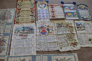 VINTAGE LINEN TEA TOWELS & HAND MADE CALENDARS LOT