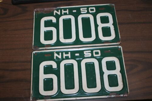VINTAGE pair 1950 NEW HAMPSHIRE MATCHED SET LICENSE PLATES 4-DIGIT  6008