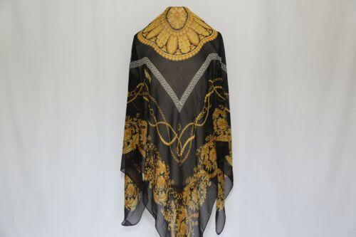 Authentic Renato Balestra Made in Italy designer silk scarf Vtg large Black Gold