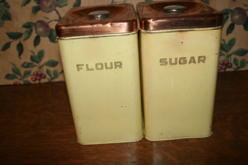 2-VINTAGE BEAUTYWARE BY LINCOLN YELLOW CANISTERS FLOUR,SUGAR- COPPER COLOR LIDS