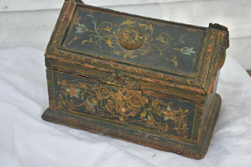 "Vintage Hand painted Wood  Trunk Box Lidded chest 10 x 15"" Unique Design Ornate"