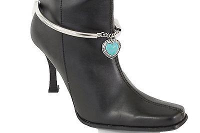 Women Silver Boot Chain Bracelet Western Shoe Charm Jewelry Heart Turquoise Blue