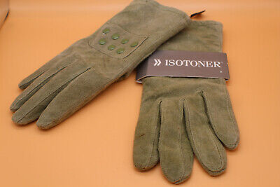 Isotoner Olive Green Leather Suede Gloves Medium Woman