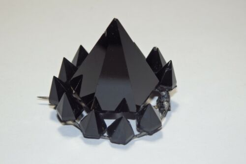 Gothic Antique Victorian Jet Black Mourning SPIKE Brooch Pin