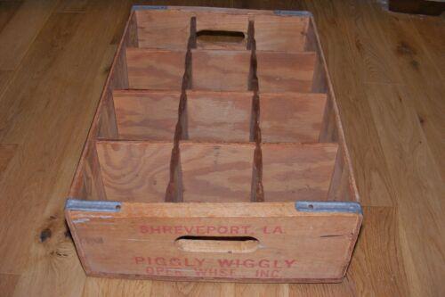 Vtg Piggly Wiggly King Kooler Drinks Wooden Crate 12-1 Liter Bottle Shreveport