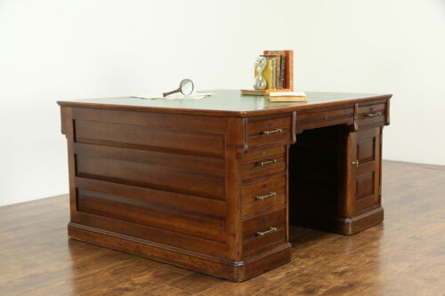 Victorian Cherry Antique Partner Library Desk, Raised Panels, Leather Top #34689