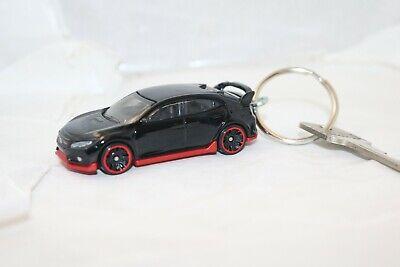 Hot Wheels Honda Civic Type R black 2/5 CUSTOM keychain OOAK loose