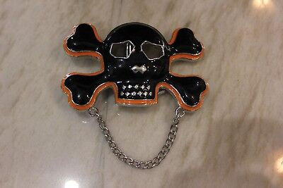 Fun! Skull Crossbones Jolly Roger w Chain Enameled Belt Buckle! Black & Orange!