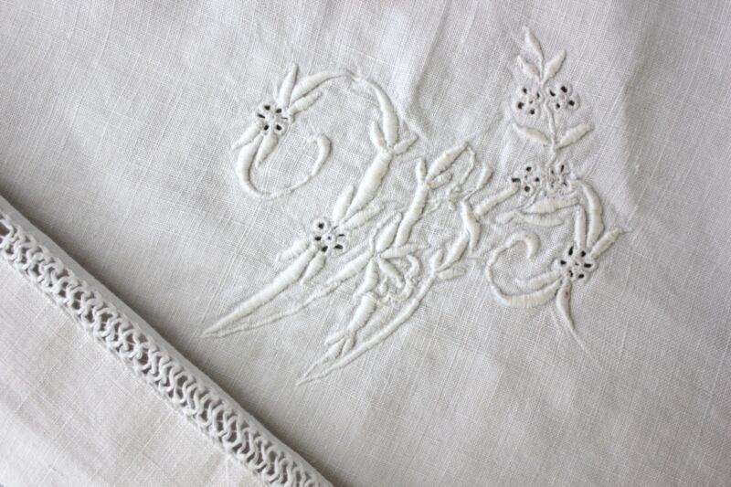 Antique hemp French sheet linen FINELY woven 77X118 W or M white monogram