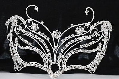Damen Halb Gesicht Eye Maske Kostüm Silber Metall Schmetterling Blumen Halloween ()