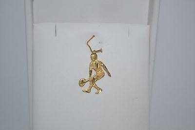 NEW 14K SOLID YELLOW GOLD TENNIS PLAYER TENNIS RACQUET FLAT CHARM - Gold Female Tennis Player Charm