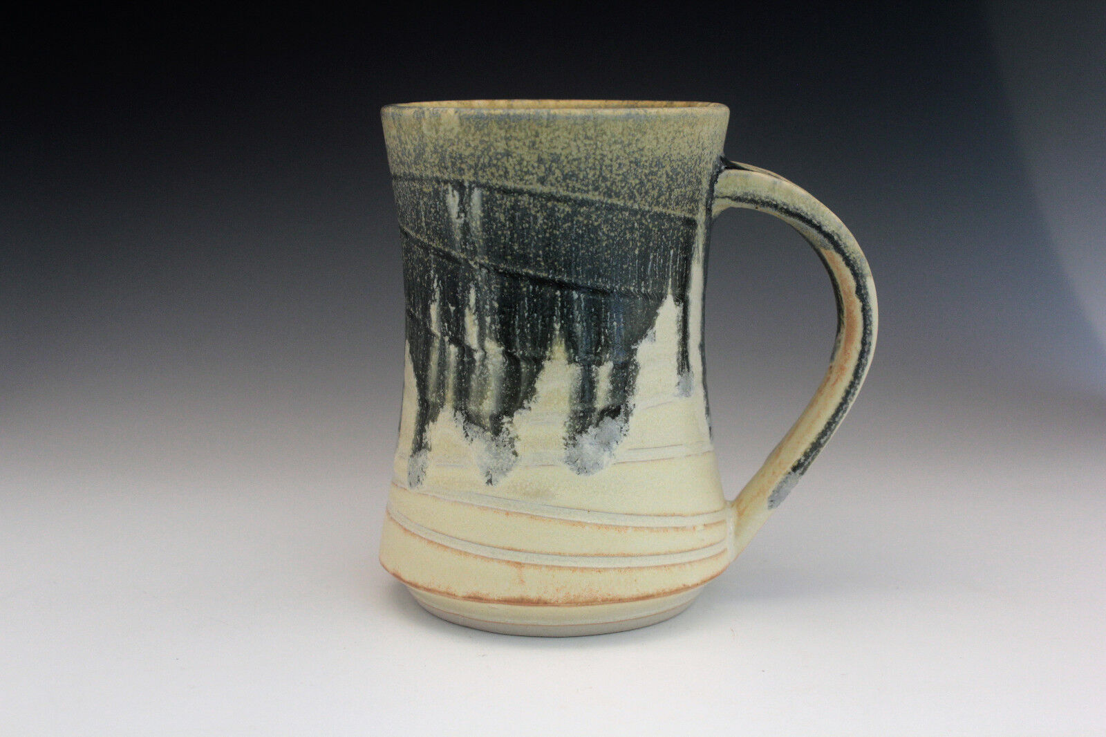 Pottery Handmade Wheel Thrown Coffee Mug/Cup Yellow & Blue Drip Glaze - Rollins