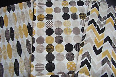 Tischläufer geometrische Formen goldgelb senf schwarz ca.145 x 40 Chevron Kreise