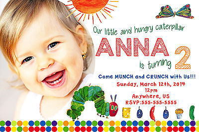 Very Hungry Caterpillar Birthday Invitations Print your own Digital - Hungry Caterpillar Birthday