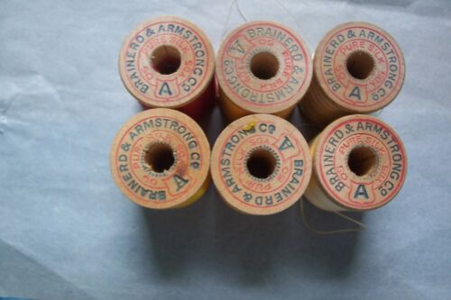 "6 Antique Wooden Spools  Silk  Sewing Thread Brainerd  & Armstrong ""Collectible"""
