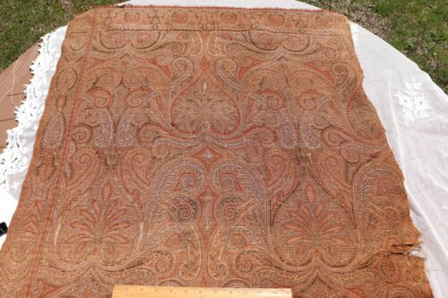 """Antique c1870 Wool Double Jacquard Woven Frame Paisley Cutter Fabric~56""""X31"""""""