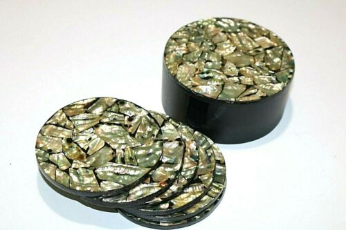 Set of 6 Vintage Abalone Coasters in a Lidded Box