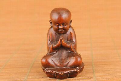 Blessing rare Chinese boxwood buddha Figure statue collect Netsuke