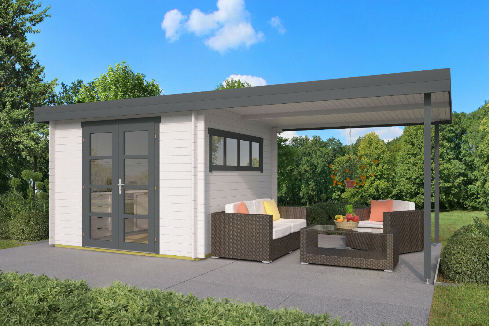 28mm Gartenhaus + Anbau 600x300cm Flachdach Holzhaus ...