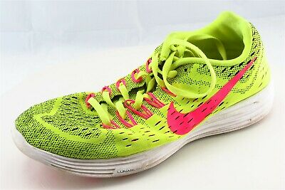 Nike Lunar Trainer Size 9 M Yellow Lace Up Running Fabric Wmn Shoe