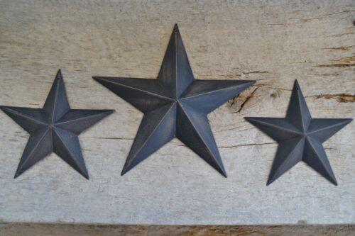 "Set of 3 ~ 8"" 5.5""  BLACK BARN STARS Metal Tin  Primitive Country 5 1/2"""