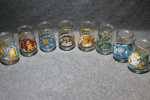 1999 Vintage Welches Pokemon Jelly Jar Near Complete Set 8 of 9 - Nice Shape