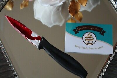 Halloween Cake Knife Blood (Handmade Sugar Edible Knife Blood Cake Topper Halloween)