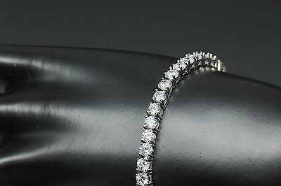 Diamond Tennis Bracelet 18k White Gold Finiish 3.5 Tcw High Quality Wrist 7.25""