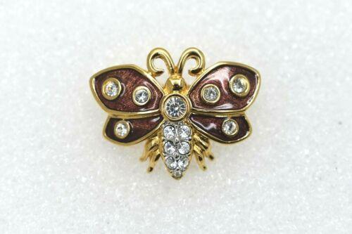 Swarovski Crystal Swan Signed Moth Butterfly Small Brown Enamel Brooch Pin Clear