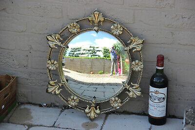 Mid century 1970 MEtal fleur de lys flower Mirror
