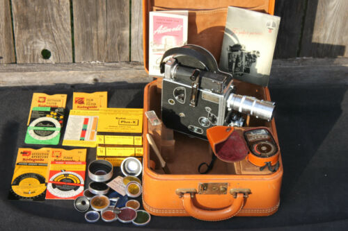 VTG Paillard Bolex H16 16mm Movie Camera w/Case, Manual, Filters, Film, & More