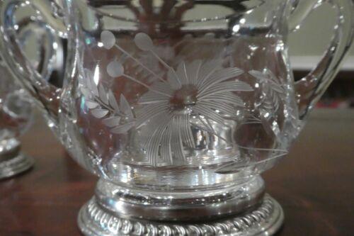 Vintage glass SUGAR AND CREAMER silver plate CUT FLORAL design