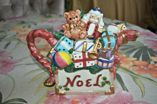 Fitz and Floyd Omnibus Christmas Santa Teddy Bear Noel Toys Teapot, Fitz & Floyd