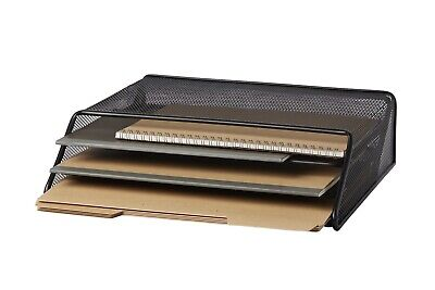 Metal Mesh Desk Organizer With Hook 3 Tier Letter Tray Black Office Wall File