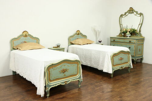 Hand Painted Antique Italian 5 Pc Bedroom Set, Twin Beds #36140
