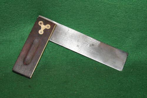 """Antique Vintage 6"""" Stanley Sweetheart Try Square Brass Measuring Tool  Inv#HC70"""
