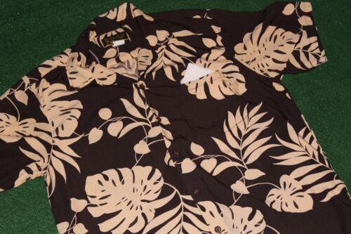 Made In Hawaii Original~Island Aloha Wear~Rayon Shirt~Brown+Tan Leaves luau tiki