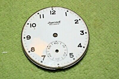 #PW68,Ingersoll Watch Co.42mm Movement & Porcelain Dial For Pocket Watch 1894
