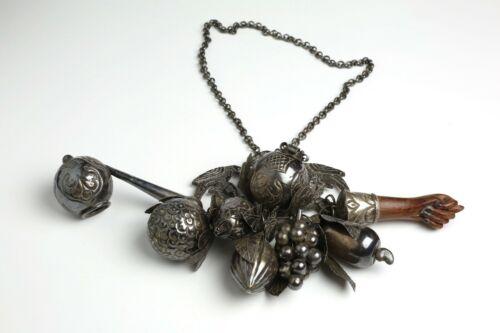Antique 19th Century Silver Penca de Balangandan Brazilian Slave Charm Good Luck