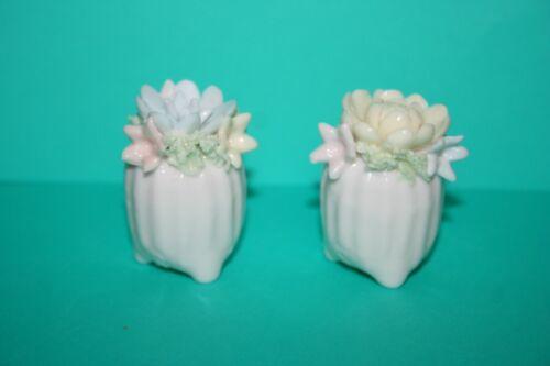 Figural Potted Flowers Salt Pepper Shaker Handcrafted Porcelain Art Pottery Vtg