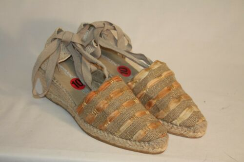 Marina Luna Womens Ladies Ankle Tie Canvas Wedge Espadrilles Shoes Size 10M