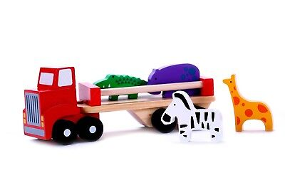 Wooden Toy Truck - Classic Wooden Toy Truck With Animals and Detachable Trailer