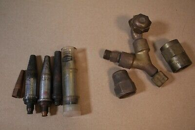 Vintage Cutting Torch Tips Y Splitter And Valve - 1502 No2 Purox No5 Fittings