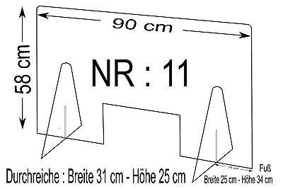Spuckschutz Nr.11 - Schutzscheibe Breite 90cm, Höhe 58cm, Durchreiche B31xH25cm