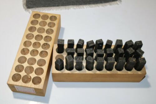 """Vintage Leather Letter Steel Stamps 1/2""""  in Wood Box by Young Bros Stamp Works"""