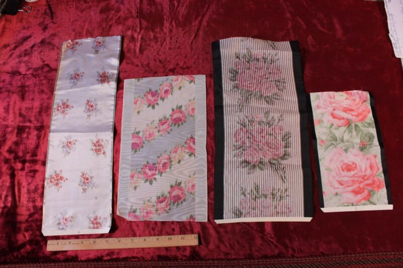 Lot Of 4 Antique French Rose Silk Ribbon Samples c1900~Frame