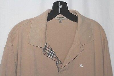 BURBERRY LONDON Men's XXL Made in Great Britain Tan Cotton Polo Shirt
